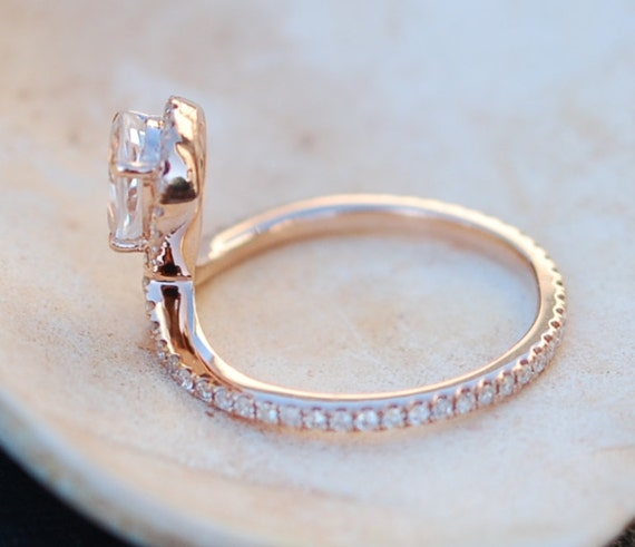 Rose gold ring Pear Sapphire COBRA ring 1ct white sapphire diamond ring 14k rose gold full eternity. Engagement ring by Eidelprecious