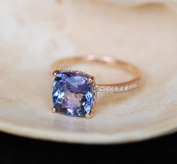 Tanzanite Ring. Rose Gold Engagement Ring Lavender Blue Tanzanite cushion cut engagement ring 14k rose gold ring by Eidelprecious.