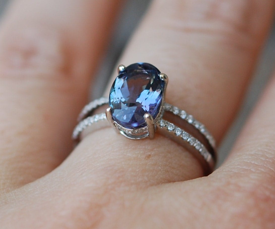engagement ring tanzanite ring blue tanzanite oval. Black Bedroom Furniture Sets. Home Design Ideas