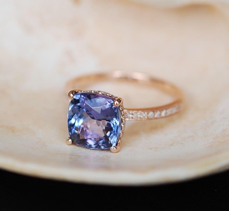 Tanzanite Ring. Rose Gold Engagement Ring Lavender Mint