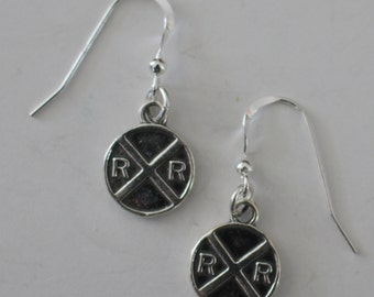 Sterling Silver RAILROAD SIGN Earrings