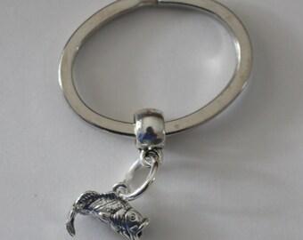 Sterling BIG MOUTH BASS Key Ring - Key Chain - 3-Dimensional - Fishing, Marinelife