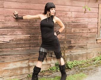 Sale - INDRA TRIBAL DRESS - Organic Hippie Boho Fairy Faery Pixie Native American Bohemian Goa Tribal Burning man - Black