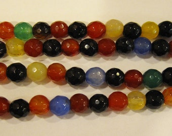 Mixed Color Faceted Agate 6mm Gemstone Round Beads 8 inch strand