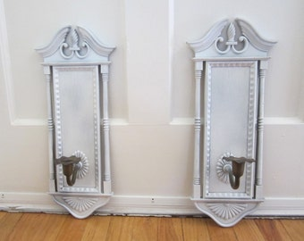Architectural Burwood Candle Sconce Set - Hollywood Regency Wall Decoration Shabby Chic Ornate Candlestick Holder Wall Plaques PAIR