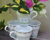 Vintage coffee cups, mugs, Mikasa, Younger than Springtime, Japan, Set of 4, tea cups, coffee service