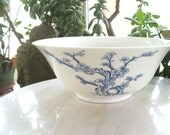 1980 Smithsonian Lenox Ch'ing Dynasty Bowl   blue and white cherry blossoms