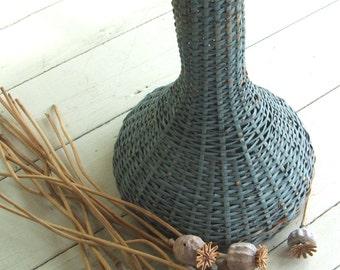 Shabby Blue Vintage Wicker Vase