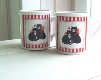 "2 ""Two of a Kind"" Vintage Coffee Cups Mugs Red Black and White Cats by Papel Japan"