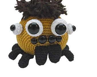 amigurumi animal glotzi PDF crochet pattern tutorial by Katja Heinlein spider stuff toy digital tarantula black widow ebook file digital