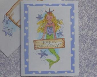 Mermaid Birthday Card - Original Drawing wtih Envelope