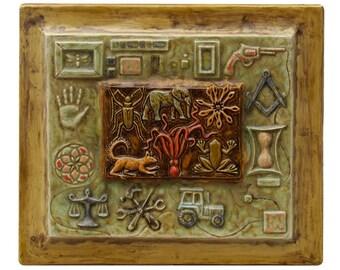 "Hieroglyphics Ceramic Tile- (12"" wide x 10.5"" tall x 1"" deep)"