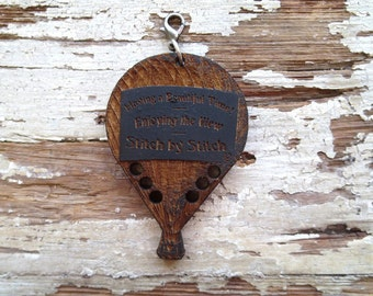 SALE -- Vintage Hot Air Balloon Wooden Thread Organizer Fob Palette for Cross Stitch Hand Embroidery