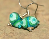 Green and Blue Lampwork Glass Earrings, Handcrafted Modern Art Glass Jewelry, Contemporary, Simple Drops, Ocean Color Palette, Beach Glass