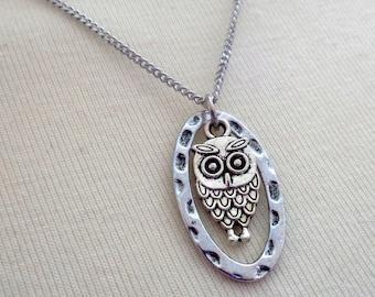 Petite Owl Necklace, Owl Charm Necklace