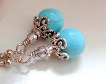 Turquoise Earrings. Turquoise Howlite Dangle Earrings. Turquoise Jewelry.