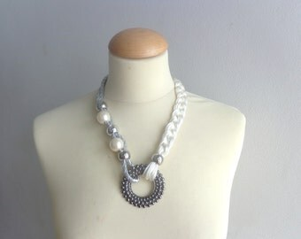 Cream pearl silver black statement necklace chunky jewelry