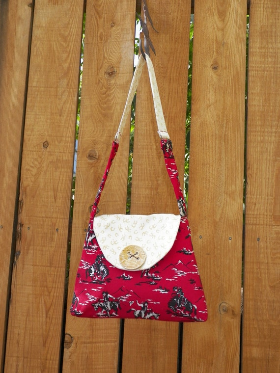 Cowpokes and Horseshoes Fashionable Mini Bag with Handmade Golden Ceramic Button