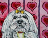 Maltese coffee cafe print signed dog art print animals impressionism fauvism artist gift new