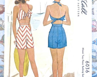 Vintage 1940s Womens Two-Piece Swimsuit and Shorts Pattern - McCall 6036