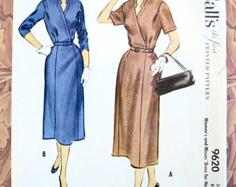 Vintage 1950s Wrap Dress Pattern for Half Sizes - McCalls 9620