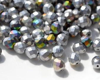 Matte Silver Marea 8mm Fire Polish Czech Glass Round Beads   25