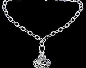 Sterling Silver Bracelet w/Pewter Heart