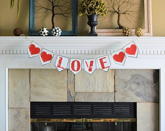 Wedding party reception pennant banner, LOVE and hearts, rustic celebration decor decorations