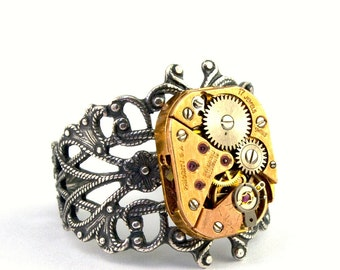 Copper Steampunk Ring Adjustable Vintage Watch Victorian Style Jewelry designed by London Particulars