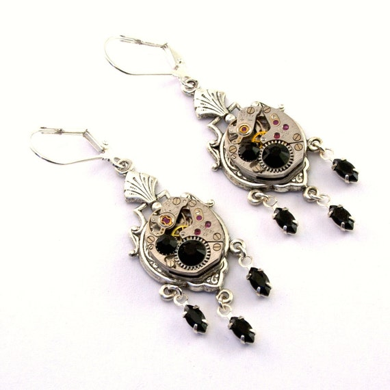 Jet Black Steampunk Earrings Swarovski Crystals Steam Punk Steampunk Jewelry designed by London Particulars