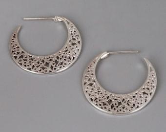 Sterling Silver Hoop Earrings, Filigree Earrings, Silver Earrings, Lace earrings, Filigree Hoops, Victorian Earrings, Unique Earrings Dainty