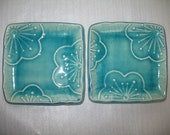 Set of Two Plum Blossom Teal Side Dish Plates