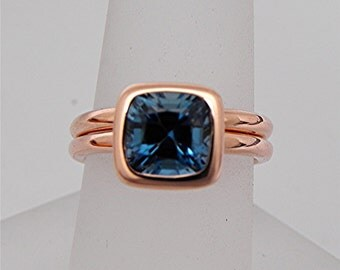 AAA London Blue Topaz Cushion Cut   7x7mm  2.10 Carats   in a 14K Rose gold solitaire bridal set. 2055