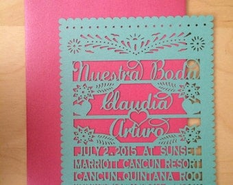 Laser cut Invitation - (150 invitations & envelopes) Quinceanera design Papel Picado Inspired 5x7 card