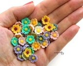 20pc small buttercup resin flower cabochons / 11mm / resin flowers grab bag/ diy jewelry supplies