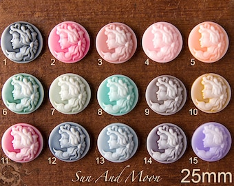 Resin Cabochons - 15pcs - 25mm Princess Cameo Cabochon for Jewelry Making Craft Projects - 15 Colors