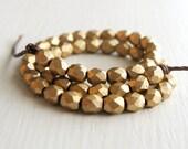 50 Matte Gold Glass Faceted Rounds 3mm - Czech Glass Beads