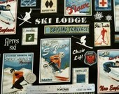 SKI POSTERS Black Ski Country - Cotton Quilt Fabric by the Yard, 1/2 Yd, Fat Quarter - Alpine Skiing Lodge Chalet Cabin Vintage Retro