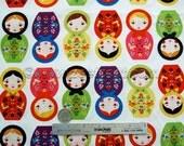Little KUKLA Russian NESTING DOLLS Bright Doll Novelty Cotton Quilt Fabric Robert Kaufman Matryoshka Dolls by the Yard or 1/2 Yard