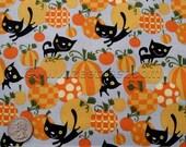 BLACK CAT Orange Pumpkin Grey Halloween - Cotton Quilt Fabric by the Yard, Half Yard, or Fat Quarter David Walker Free Spirit Cute
