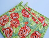 Amy Butler Tumble Roses potholders, Floral Potholders, Designer potholders, Quilted Potholders, Hotpads