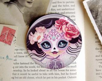 Camila Huesitos Pocket Mirror  - 3 inch Round - Day of the Dead Sugar Skull