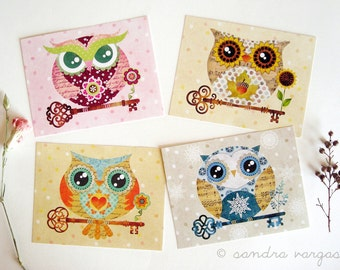 Set of 8 Owl Postcards w/ Envelopes Postcrossing Woodland