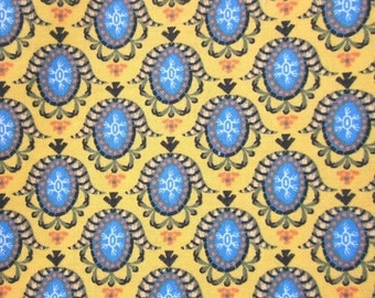 Bright Yellow and Blue Motif Pattern Cotton Fat Quarter