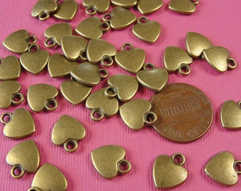 25 pcs - Antiqued Bronze Heart Beads, Antiqued Bronze Charm Beads,  Pendant Drops, 12x10mm, DR1006