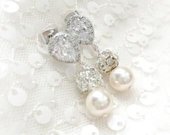 Pearl Bridal Earrings // Short Pearl // Cubic Zirconia Bridal Earrings // Wedding Earrings, Rhinestone and Swarovski Pearl Jewelry