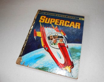 Vintage Little Golden Book SUPERCAR, 1960's Little Golden Book