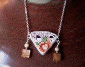 """Vintage Broken China, Ceramic Shard Necklace, Sterling Silver, Mother of Pearl Beads, Pretty """"Hand Painted in Japan"""" Flowers"""