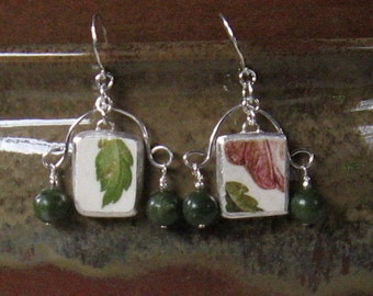 Vintage Broken China Ceramic Shards Earrings, Sterling Silver, Stone Beads, Leaves & Petals