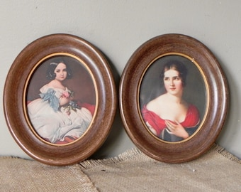 Vintage pair of victorian portraits of young girls sister of Napoleon red elegant dress brown frame